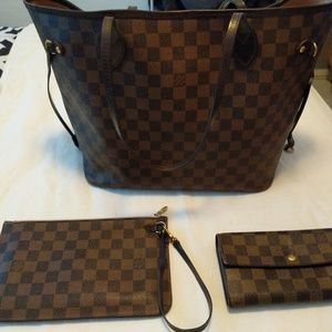 Louis Vuitton Neverful MM rose Ballerine purse set